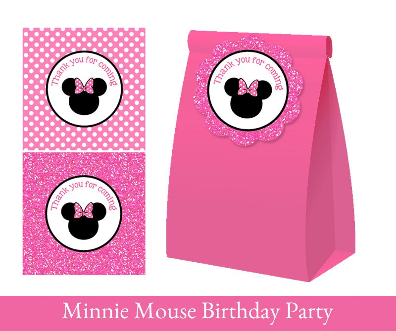 Minnie Mouse Favor Tag Minnie Mouse thank you tag Loot Bag
