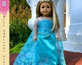 Disney's Frozen Inspired Elsa the Snow Queen 18 inch American Girl Doll Dress with SnowFlake Train