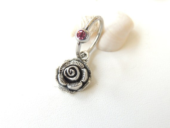 Rose Belly Button Ring Captive Belly Button Ring Navel
