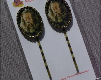 Wizard of Oz Cowardly Lion - Bronze and Epoxy Cameo Bobby Pins / Hair Clips