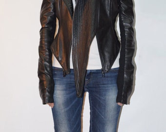 Convertible Black Eco Leather Jacket/Short and Long Jacket/Short and Long Vest/Sleeveless/Long Sleeves/F1343