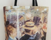 Printed tote bags , beach totes, Auguste Renoir painting, handmade handbags, casual chic bag made in France.