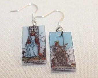 King and Queen of Swords Tarot Card Earrings