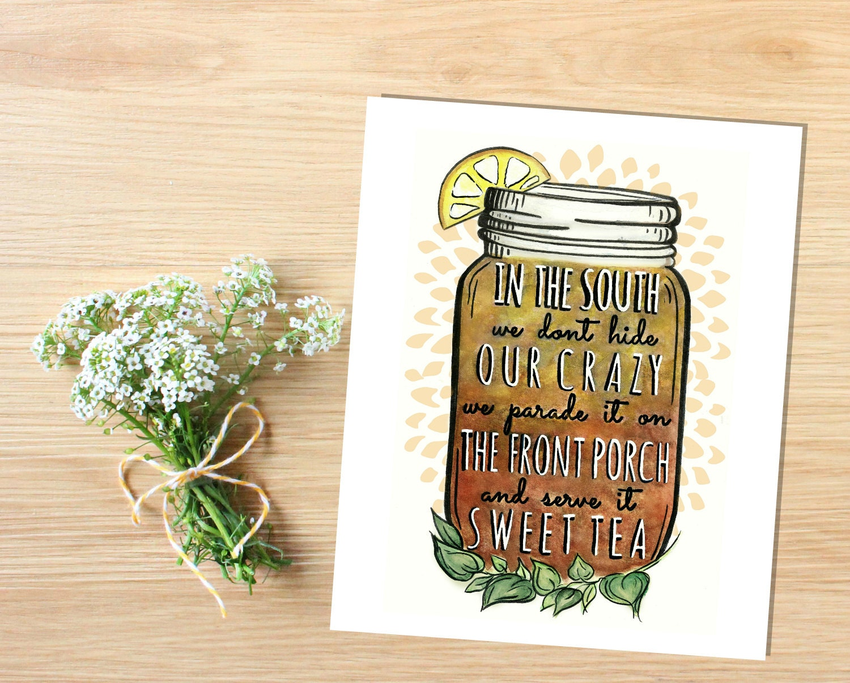 Sweet tea mason jar printable southern print mason jar zoom amipublicfo Images