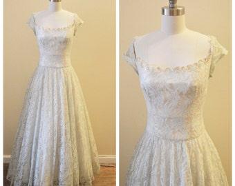 Vintage Bridal 1950's Ivory satin and blue lace wedding dress - something blue