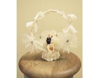 Vintage Bridal Wedding Cake Topper 1920s - Bride & Groom Red Hair / redhead