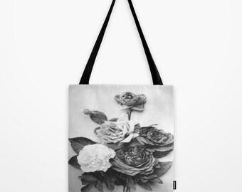 Rose Tote Bag - Designer Tote Bag - Book Bag - Eco-friendly Bag - Shopping Bag - Graphic Tote