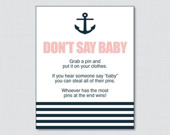Nautical Donu0027t Say Baby Baby Shower Game   Printable Donu0027t Say Baby
