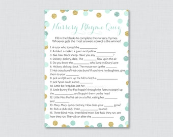 Baby Shower Nursery Rhyme Game Printable - Mint and Gold Baby Shower Glitter Polka Dots - Printable Instant Download - 0008-m