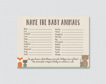 Baby Animals Name Game Baby Shower Printable Woodland Baby Shower - Printable Instant Download - Woodland Baby Shower Game - 0010