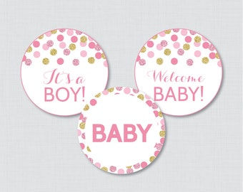 Pink and Gold Baby Shower Cupcake Toppers Printable - It's a Boy AND Girl - Instant Printable Download - Pink Gold Cupcake - 0008-P