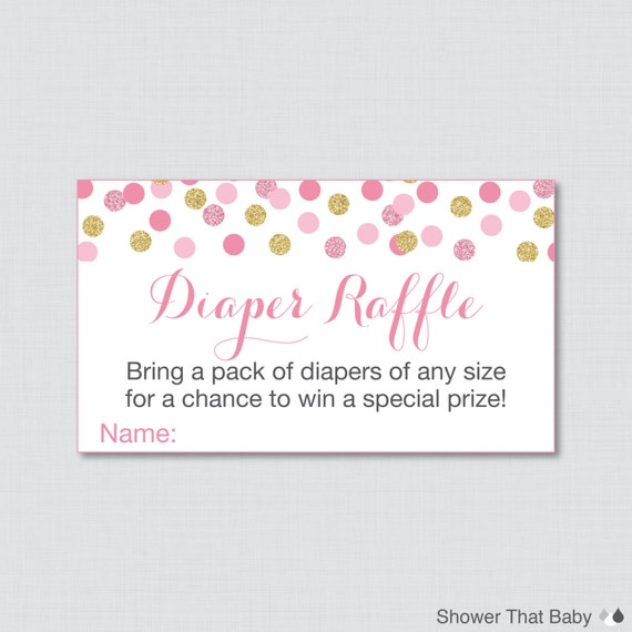 Pink and Gold Baby Shower Diaper Raffle Ticket Cards and Diaper Raffle ...