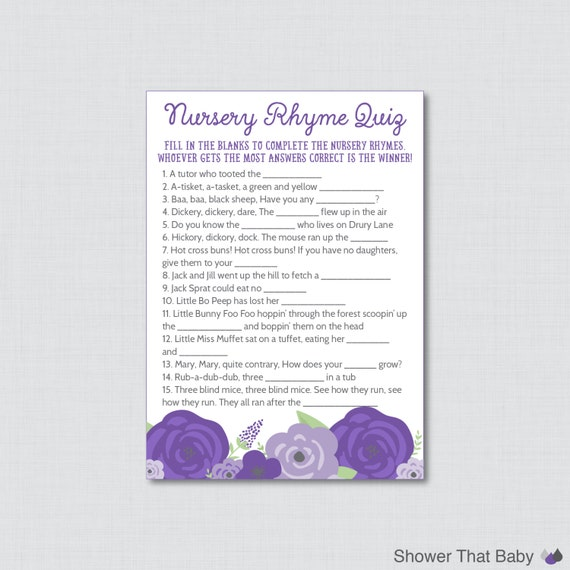 Purple nursery rhyme quiz baby shower game printable instant