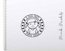 Personalized Rubber Stamp for Girls, Custom Kids Rubber Stamp - Choose Hairstyle and Accessories