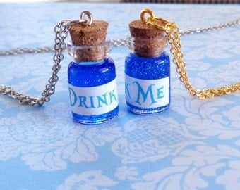 Drink Me Necklace-Drink Me Bottle-Potion Bottle-Alice Cosplay-Alice Costume-Alice in Wonderland Necklace-Kawaii Necklace-Rave Wear-EDC-EDM