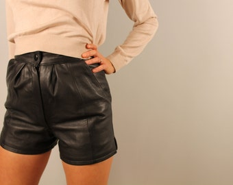 Vintage high waisted black leather shorts Basturk by Erko xxs xs small 1980s 80s