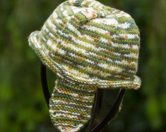 Child's fleece lined ear flap hat, warm snugly gift idea, non itch hand knit hat with fleece lining, green and white with specks of mustard