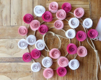 Paper Flower Garland - Pink & White