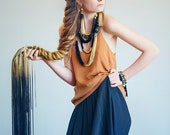Long Fringe Ombre Tassel Necklace, Fringe Statement Necklace, Black and Gold Elegant Necklace, Wood Bead Necklace