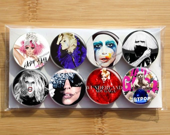 Lady Gaga Magnets  - Set of 8 magnets - 1 inch each - wrapped in cello bag - Strong magnets