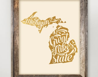 Michigan Great Lakes State Faux Gold Foil State Print 8 x 10