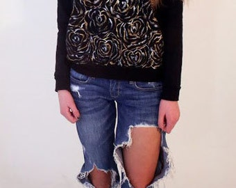 Gold and Silver Flower Sweatshirt