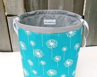 Knitting Project Bag in turquoise dandelion print, Two at a Time Knitting Bag, Yarn Organizer, Drawstring Bag - Medium Socksack
