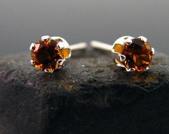Natural citrine earring, citrine earrings, genuine citrine studs 3 mm