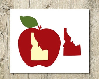 Idaho Art Print Instant Download Idaho Wall Art Red Apple Idaho Printable