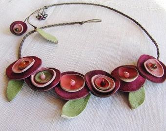 Handmade flower necklace, leather flower necklace. unique necklace