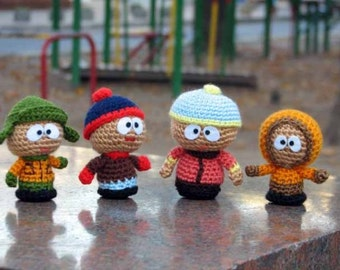 South Park Amigurumi Crochet Toys, Set of 4 Eric  Cartman, Kenny McCormick, Stan Marsh, Kyle Broflovski
