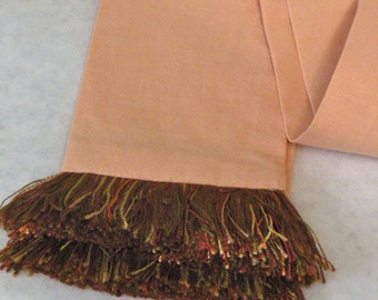 Sandy Peach/ Terra-cotta Cotton Sash w/Rust Fringe for Pirate, Ren Faire and Cosplay