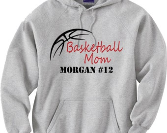 Basketball mom hoodie sweatshirt.  Basketball outline.