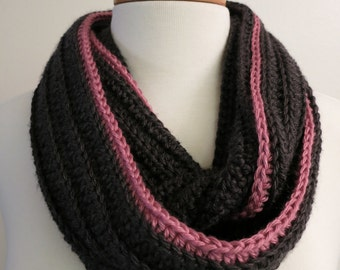 Two-Tone Infinity Scarf in Gray and Pink