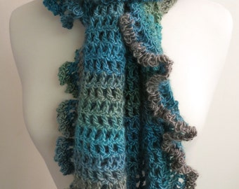 Crocheted Ruffle Scarf in Light Blue and Green
