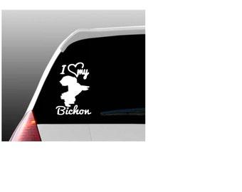 I Love My Bichon/Bichons Car Window Decal