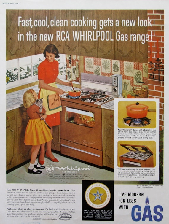 1961 Rca Whirlpool Gas Appliances Ad Midcentury Modern