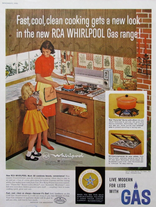 Uncategorized American Kitchen Appliances 1961 rca whirlpool gas appliances ad midcentury modern