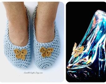 Cinderella Slippers // Crochet Indoor Shoes WOMEN