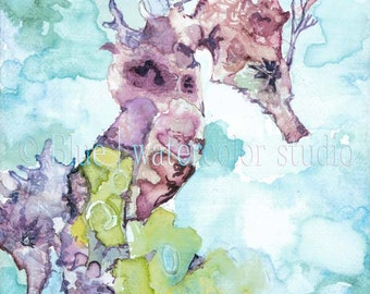 Ethereal - watercolor, seahorse, purple, art print