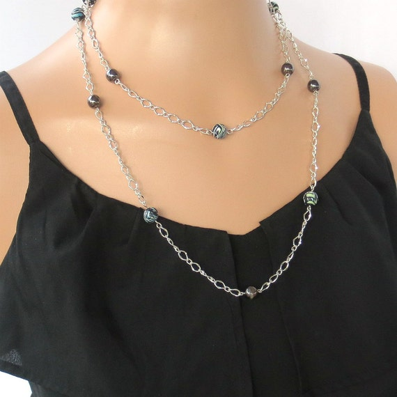 black and silver flapper necklace beaded chain by