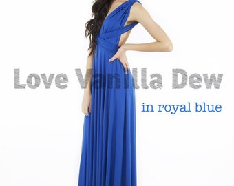 Bridesmaid Dress Infinity Royal Blue Floor Length Maxi Wrap Convertible Dress Wedding Dress