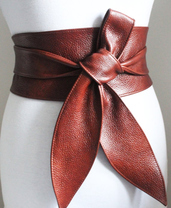 sale rich brown leather obi belt tulip tie waist or by