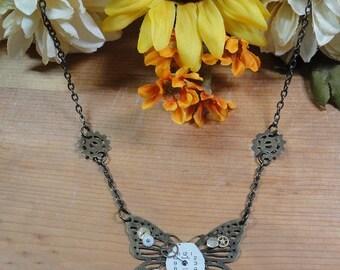 Clockwork Butterfly Steampunk Necklace (#8)