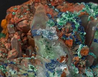 Azurite and malachite on Quartz with calcite