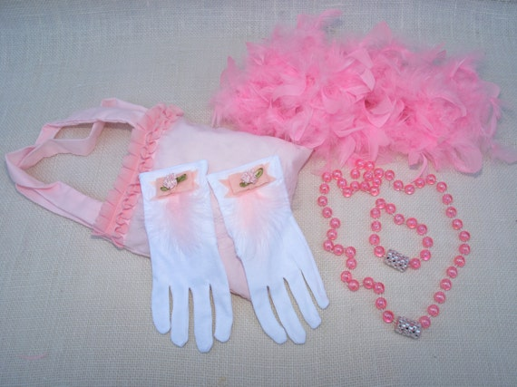 little girl tea party dress up bag with jewelry boa and gloves. Black Bedroom Furniture Sets. Home Design Ideas