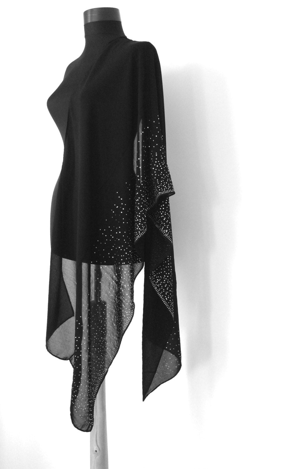 black shawl evening shawl chiffon scarf wedding shawl