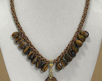 Tiger Eye Beaded Necklace with Pendant, Kumihimo Braided Tiger Eye Necklace with Pendant