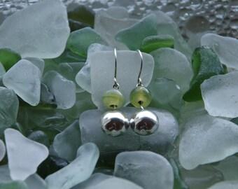 Handmade Silver Domed Glass Earrings