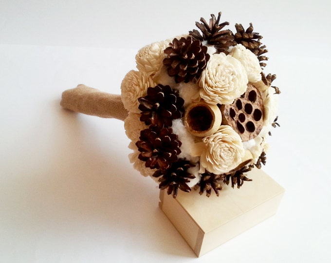 READY to SHIP Cream rustic BOUQUET Ivory Flower pine cones bell cup burlap cotton autumn winter wedding sola roses woodland